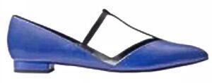 Kate Spade Saturday Blue Leather Flat Black Contrast T-Strap