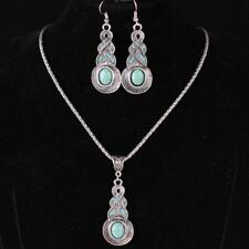 Tibetan Silver Blue Turquoise Chain Crystal Pendant Necklace Fashion Jewelry :