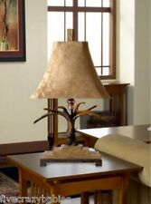Luxury Rustic Antler Lodge Table Accent Lamp PAIR Set Eco Friendly