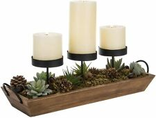 MyGift 3-Pillar Black Metal Candle Holder with Rustic Wood Tray and Handles