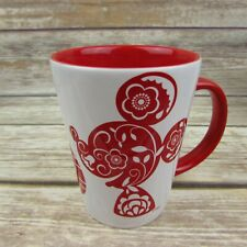 Disney D23 Red Floral Silhouette Mickey Minnie Mouse Coffee Mug Cup Shanghai
