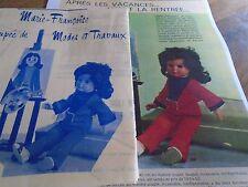 """T7 PATRON POUPEE MARIE FRANCOISE  MODES ET TRAVAUX"""" TUNIQUE ET PANTALON 1970"""