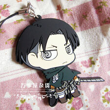 Japan Anime Attack On Titan Levi / Rivaille Keychain Rubber Strap Phone Charm