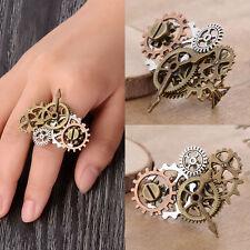 Men Women Vintage Charm Steam Punk Ring Finger  Clock  Gear Gift Patty Jewelry