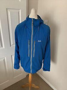 Men's Blue RAB Vapour Rise Lite Alpine Pertex Equilibrium Hooded Jacket Size XL
