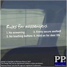 Regole per i passeggeri-Finestra, Auto, Furgone, STICKER, SEGNO, Non urlare, toccare, aspetta