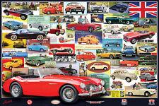 BRITISH MOTOR CAR HERITAGE Wall POSTER - Austin, MG, Wolseley, Morris, Rover
