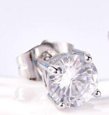 18k white gold white Crystal stone stud Gents men's single earring 317