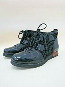 SOREL Major Lace Up Black Mesh Ankle Boots Patent Leather Shoe Sz 8