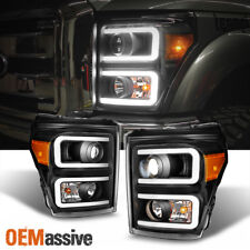 2011-2016 Ford F250 F350 F450 F550 SuperDuty Black LED Tube Projector Headlights
