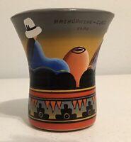"""Machu Picchu Terra Cotta Vase Cup Pottery Cusco Peru 4.25"""" Tall Colorful hs"""