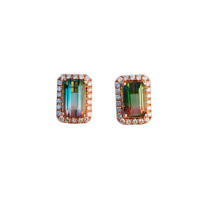 2.75cts Natural Watermelon Tourmaline W/diamond 0.308cts in 18KRose Gold earring