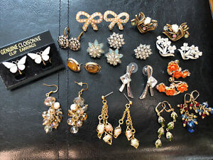 vintage earrings lot signed 14 Pairs Coro, Cloisonne,