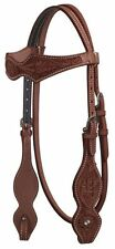 Showman Argentina Cow Leather Medium Oil Horse Headstall with Floral Tooling