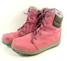 Timberland Pink Suede Hiking Ankle Boots Girls Junior Sz 4 Sherpa Fleece Lined