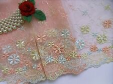 """7.5"""" Rose Pink Garland Embroidered Flower Trims Lace-2 Yards (T114)"""