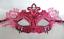 Hot Pink & Black Metal Venetian Masquerade Party Mask *NEW* Express Post Option
