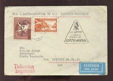 YUGOSLAVIA 1957 AIR..LUFTHANSA FLIGHT LEIPZIG BUCHAREST