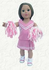 Doll Clothes Cheerleader Pink Uniform w/ PomPoms made for 18 inch American Girl