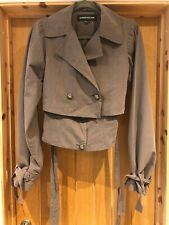 Warehouse Ladies Cropped Jacket Grey Coat Size 6 Brand New