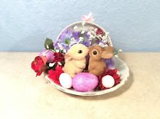 Kissing Bunny Rabbit Figurines In Teacup Easter Spring Home Handmade Craft