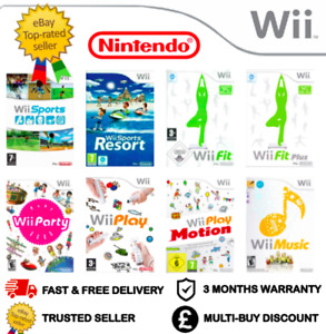 CLASSIC NINTENDO WII GAMES BUNDLE - SPORTS RESORT PLAY MUSIC PARTY FIT FIT+ PLUS