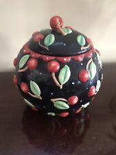 Sakura Mary Engelbreit Black Cherries Cherry Round Cookie Jar