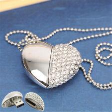 Crystal Heart USB 2.0 Flash Drive Custom Paper Box Photography Wedding Pendrive