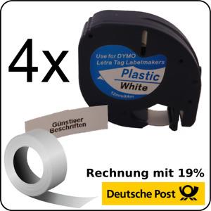 4x kompatible Schriftbandkassette für Dymo LetraTag LT-100H 12mm schwarz weiß