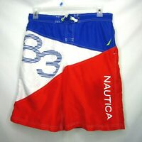 Nautica Board Shorts Color Block Swim Trunks Blue Red White Mens Size XL Vintage