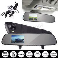Auto Car HD DVR Dash Cam Recorder Rear View Reverse Backup Camera Mirror Monitor