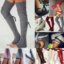Women Crochet Knit Over Knee Thigh High Boot Socks Stockings Leg Winter Leggings