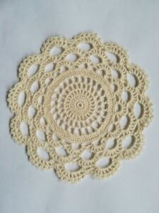 Crochet Cotton Doily / Coaster 16cm in Natural Cream Circle and Lace
