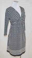 NWT BoHo CHIC Max Studio Black White Print Empire Knotted V-Neck Jersey Dress XS