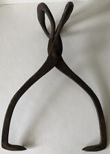 Antique Forged Cast Iron Scissor Hay Bale ICE TONGS Primitive Farm MARKED