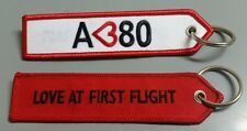ONE Embroidery Keychain Airbus A 380 Love at Fiight Aviation Aeroplane Aircraft