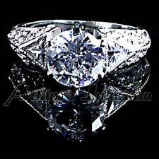 ROUND BRILLIANT CZ with ACCENTS_ENGAGEMENT RING_SZ-9__925 STERLING SILVER