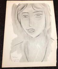Rare Henri Matisse Portrait Drawing Lithograph Litho Art Print Vintage 1950 dmg