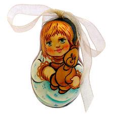 Petit Ange Décoration pour sapin de Noël Oeuf en Bois Collection Russe Ange