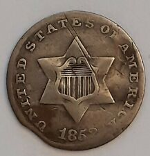 More details for 1852 3 cent usa silver (trime) - clipped planchet error - lovely (free post)