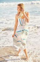 NWT Lauren Conrad Peach Teal Aqua Striped  Dress Spaghetti Strap Midi Size 8