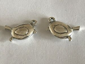 Tibetan Silver Robin Charms Antique Silver Christmas Winter Robin Red Breast *