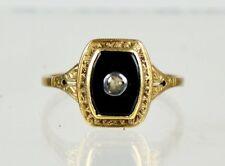 Vintage Art Deco 14K Gold Onyx Rose Diamond Ring Unisex - For All Ages  ER1143