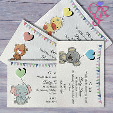 10 Cute Baby Shower Invitations Personalised Handmade with Pearlescent Heart