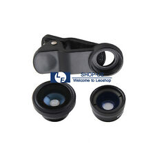 New 3in1 Fish Eye Wide Angle Macro Camera Clip on Lens Kit for Cell Phone iPhone