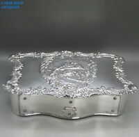 LUXURY EDWARDIAN SOLID STERLING SILVER EMBOSSED JEWELLERY BOX W.C 977g LON 1903
