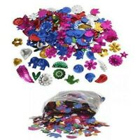 50g Large Pack 250+ Rainbow Mixed Sequin Shapes Flat Sewing Trim Costume Craft