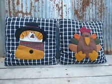 PILLOW/ SCARECROW, TURKEY/FALL HARVEST HALLOWEEN DÉCOR/BLACK