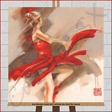 Ballet Dancer Canvas Large Framed Box Modern Dance Print Picture Red Cream Brown
