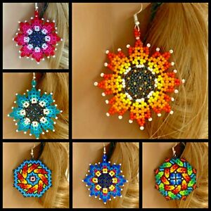 Handmade Huichol Beadwork Multi-Color Bohemian Flower Hook Earrings